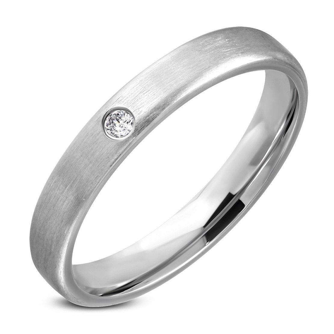 NRG Rings Stainless Steel Matte Finished Plain Comfort Fit Wedding Half-Round Band Ring with Clear CZ