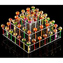 YestBuy 4 Tier Square Acrylic Cake Pop Stand (9 Rods)