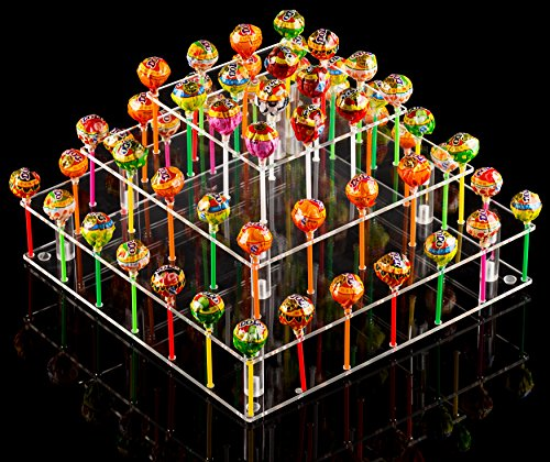 (YestBuy Clear Acrylic Cake Pop Stand (Square (9 Rods)) ...)