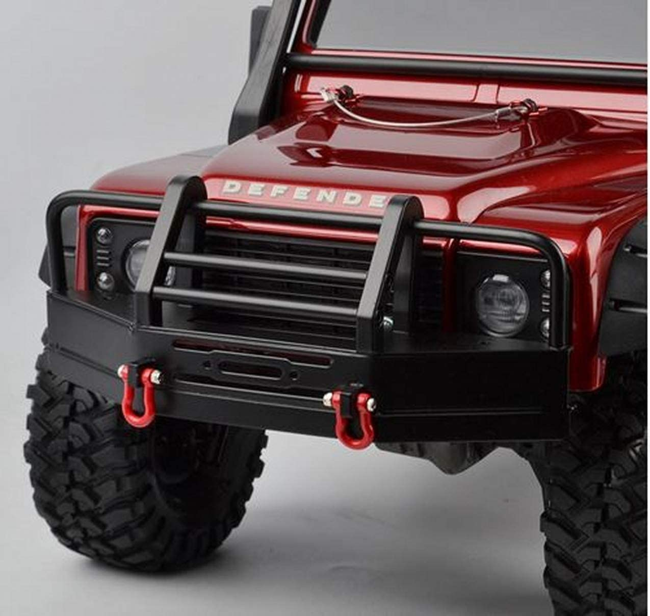 Enganche de Remolque para TRX4 SCX10-Ii SCX10 1 Nrpfell Parachoques Trasero de Metal con 2 Grilletes 10Th RC Crawler Car