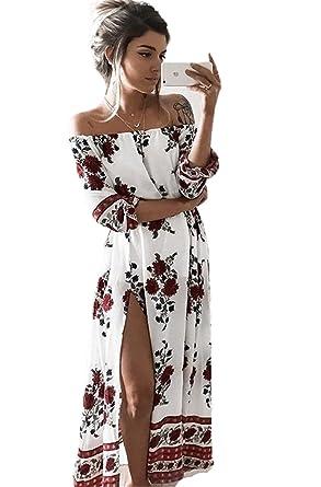 Bohème 34 Badeau Été Imprimé Grande Robes Maxi Floral Bustier De Plage Femmes Col Taille Robe Longue Manche XZwOkuTPi
