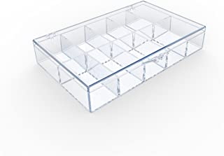product image for Clear 10 Compartment Hinged Plastic Box (Very Small Compartments) - 8 Boxes Per Pack
