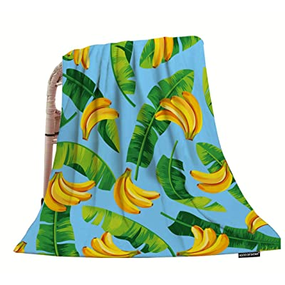 """HGOD DESIGNS Banana Throw Blanket,Pattern with Banana Leaves and Bananas Soft Warm Decorative Throw Blankets for Adults Kids Women Men Girls Boys,40""""x50"""": Home & Kitchen"""