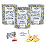 Gem Gem Ginger Candy Chewy Ginger Chews (Original, 3.5oz (100g), Pack of 3) | Real Indonesian Ginger | Gluten Free | Non GMO | All Natural | Kettle Cooked | Vegan