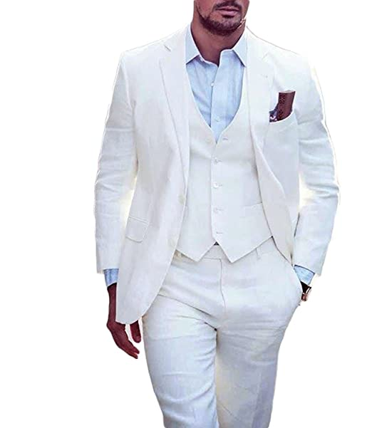 Lilis® Men\'s Summer White Wedding Suits 3 Pieces Groom Tuxedos Men ...