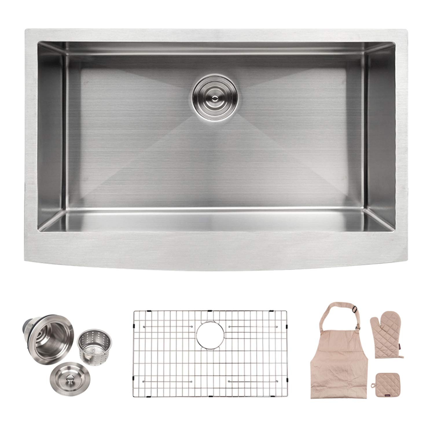 LORDEAR Commercial 36 Inch Farmhouse Apron Single Bowl 16-gauge 10 Inch Deep Stainless Steel Kitchen Sink
