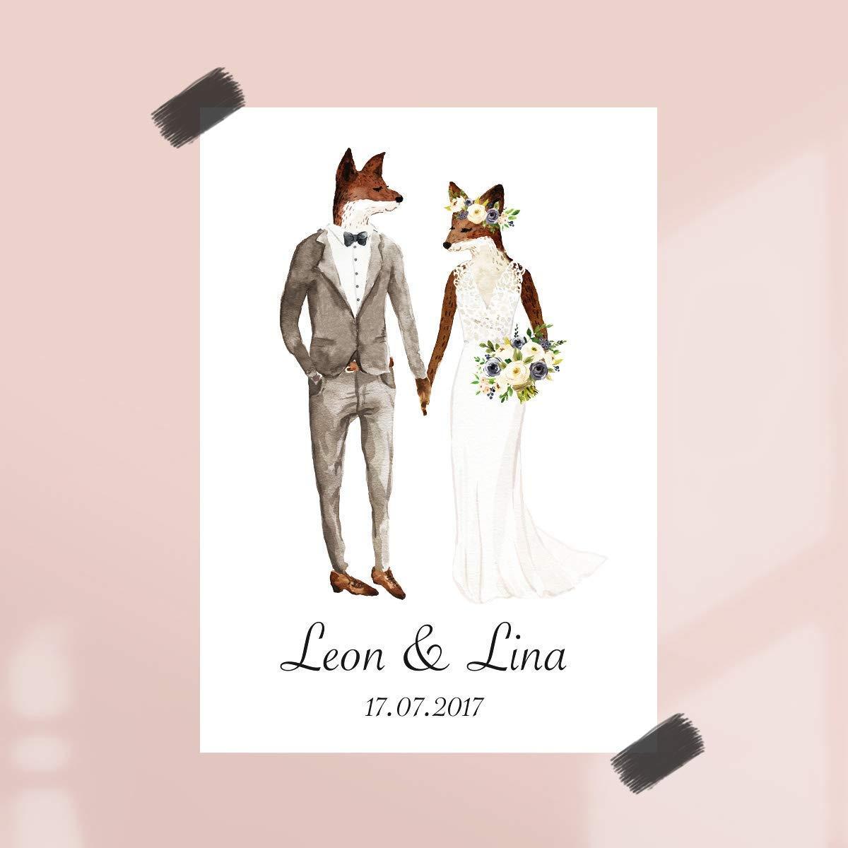 Personalisierte Hochzeitsgeschenke ungerahmt  /Geschenkidee Geschenke f/ür Paare zur Hochzeit Poster Hochzeitspaar Fuchs mit Namen /& Datum