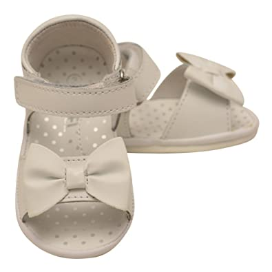dee3d938f Angel Girls White Leather Bow Accented Open Toe Sandals 1 Baby