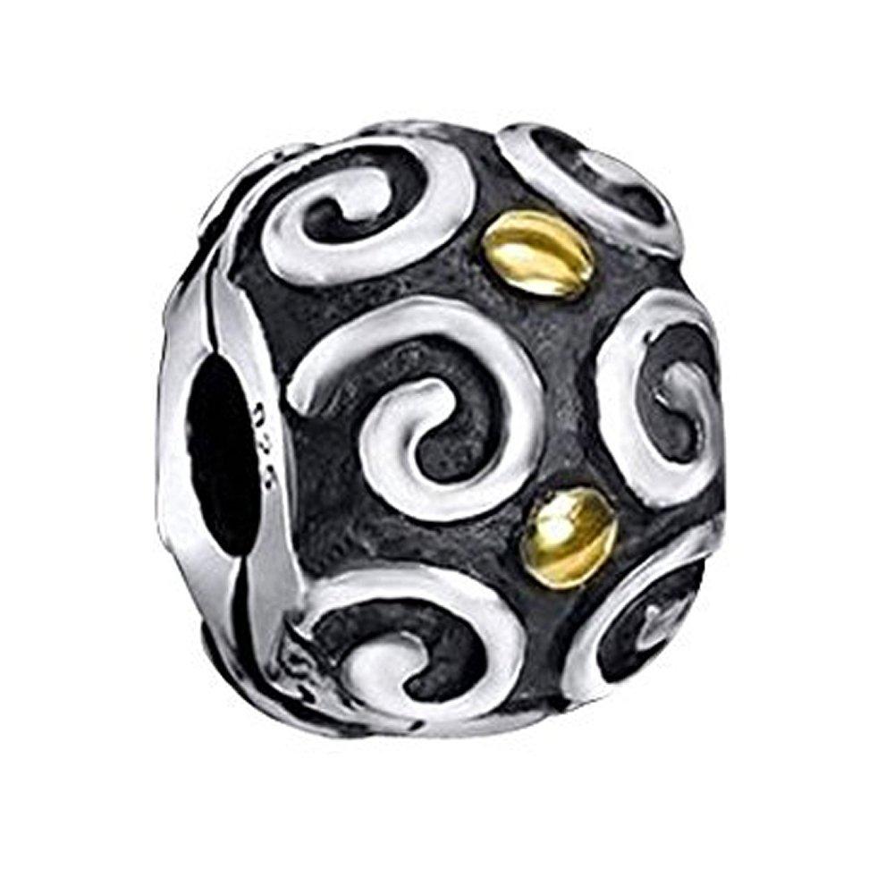 925 Silber Bead 14K Gold vergoldet Armband MATERIA Antik Beads Anhänger Blume