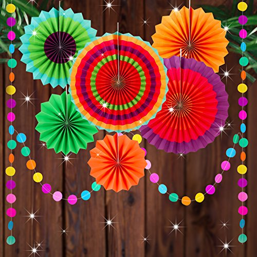 Fiesta Hanging Paper Fans Party Decoration 8