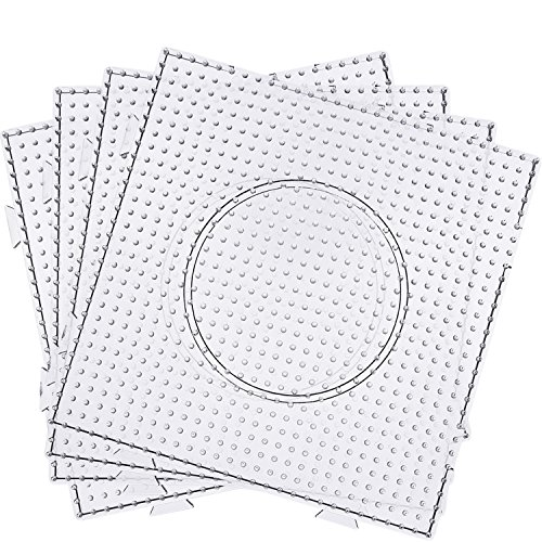 Maxdot 5 mm Large Square Fuse Beads Boards Clear Plastic Pegboards for Kids Craft Beads (6 Pieces) by Maxdot