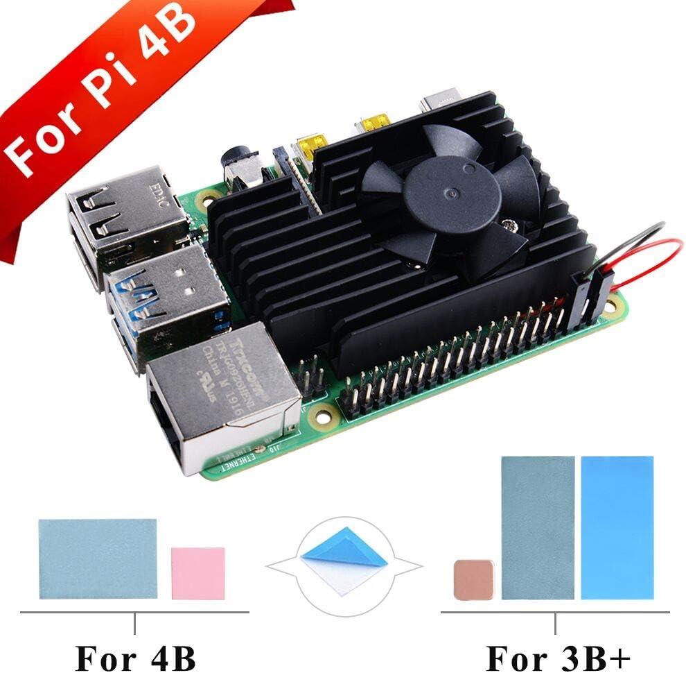 GeeekPi Kit de enfriamiento de Raspberry Pi, disipador de Calor de Aluminio con Ventilador de enfriamiento para Raspberry Pi 4B & 3 B +