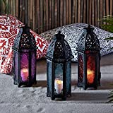 Trio of Black Metal Moroccan Indoor Battery Operated LED Flameless Candle Lanterns with Colored Glass