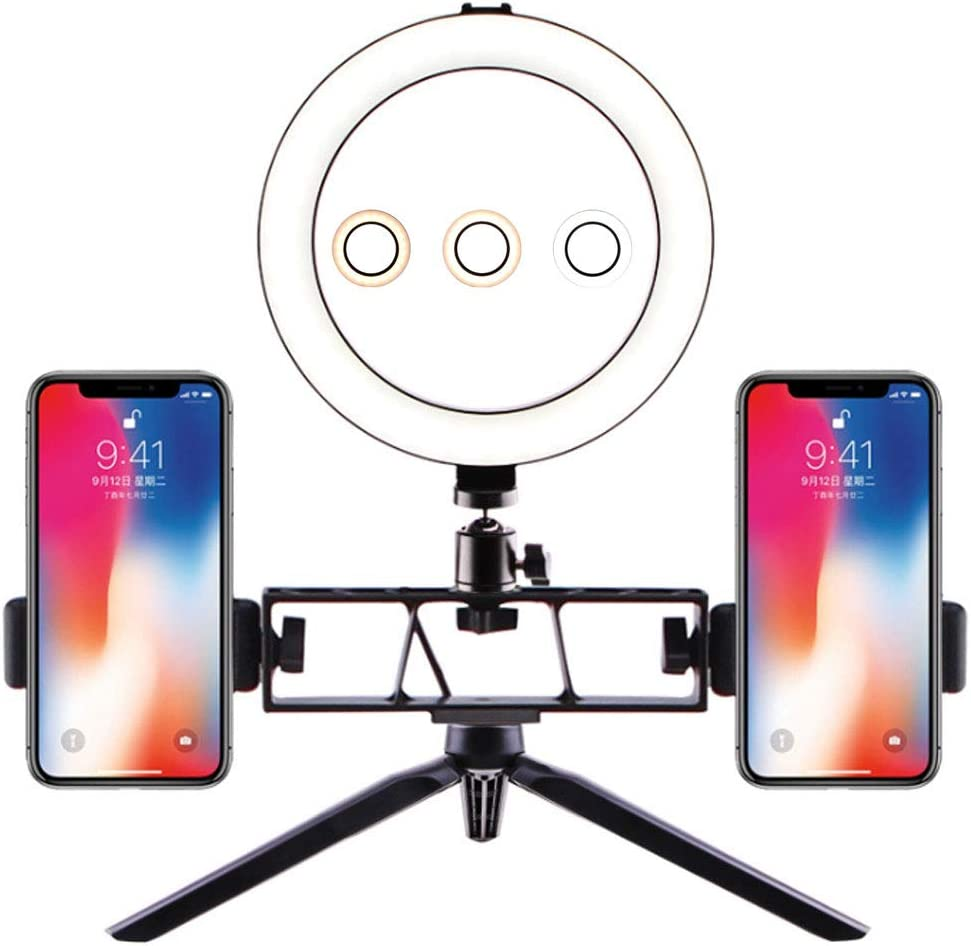 Two Seats,16cm LED Ring Light with Tripod Stand Dimmable 3 Light Modes /& 10 Brightness Selfie Desk Makeup Light Live Stream Phone Video Shooting