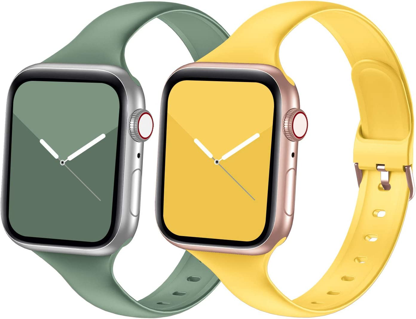 Seizehe Compatible with Apple Watch Band 38MM 40MM 42MM 44MM Series 3 Series 5, Silicone Slim Thin Narrow iWatch Bands 38MM 40MM 42MM 44MM Womens Compatible for Apple Watch SE Series 6 5 4 3 2 1