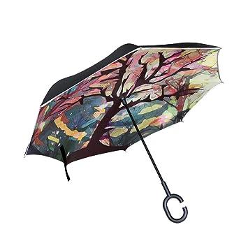 BENNIGIRY - Paraguas Reversible Plegable de Doble Capa con protección UV para la Lluvia del Coche