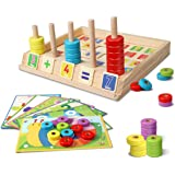 Lydaz Wooden Puzzles Counting Toys, Montessori Preschool Learning Educational Math Toys for Toddlers, Matching Shape Sorter S