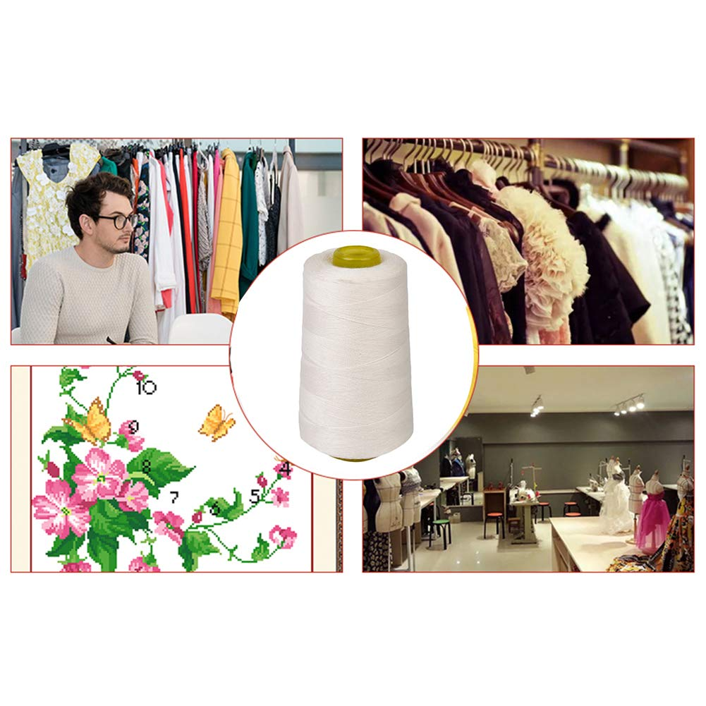 DDG EDMMS Maxi-Lock Cone Thread 3000-Yard Sewing Polyester Yarns Quilting Spool All Purpose Thread for Serger Sewing Machine White