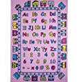 "Kids Rug ABC Fun in Pink Area Rug 5' x 7' Children Area Rug for Playroom & Nursery - Non Skid Gel Backing (59"" x 82"")"