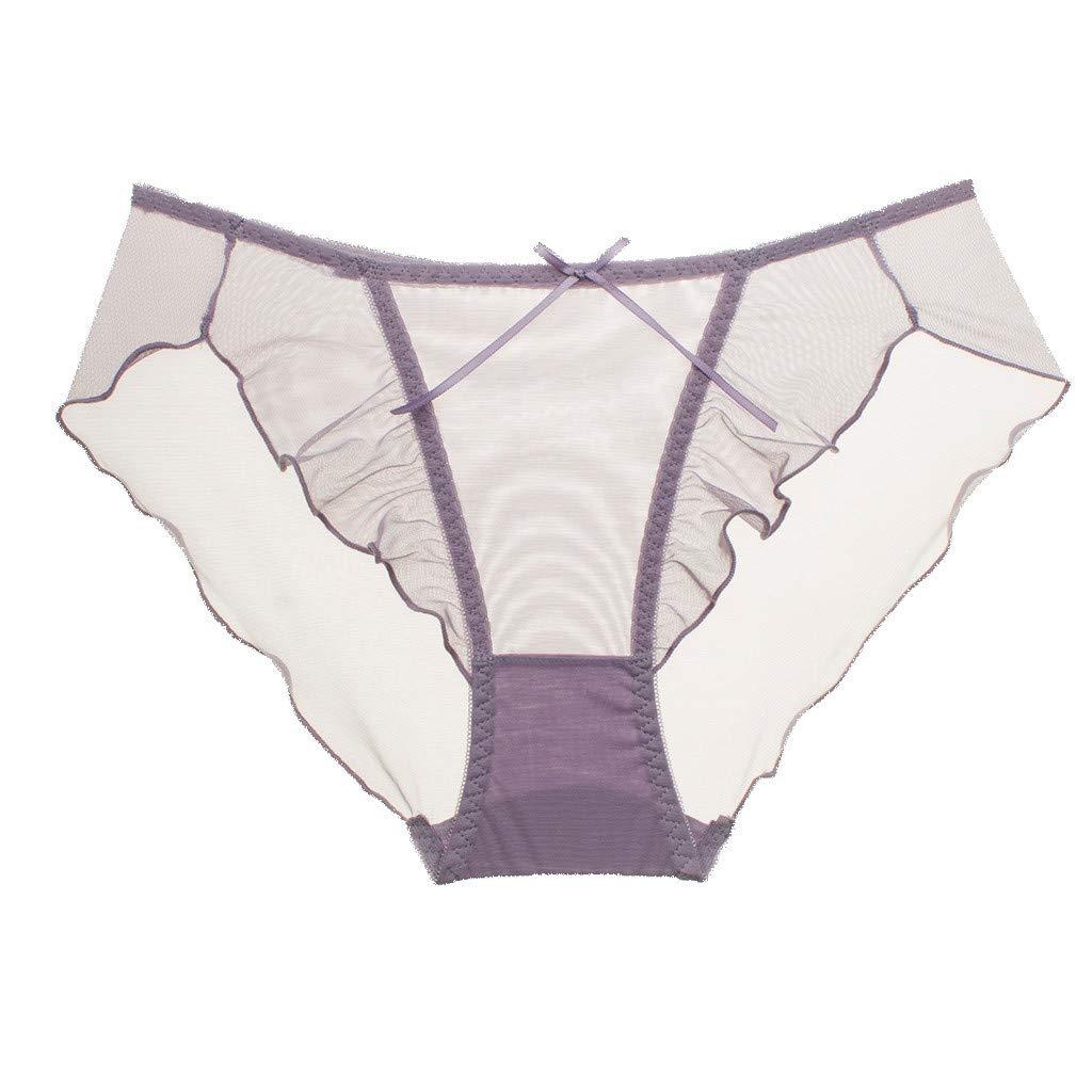Women's Sexy Lingerie Lace Lotus Edge Transparent Mesh Mid-Low Waist Ladies Underwear Purple
