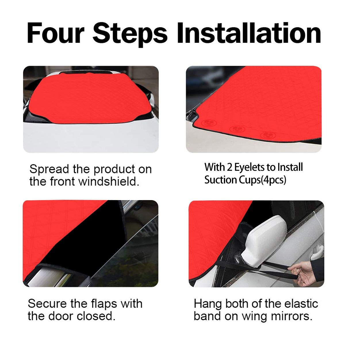 MPVs 58 x 46.5 inch Black Butterfly Firework Star Car Windshield Cover Blocks Snow Larger Shade Waterproof Sun Protection Sun Thicker Sunshade Fit Most Vehicles Trucks Ice SUVs