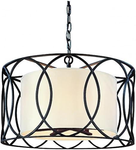 Troy Lighting Sausalito 5-Light Pendant – Deep Bronze Finish with Hardback Linen Shade