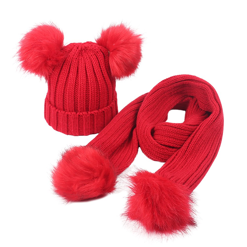 GESDY Baby Girls Knitted Hat Scarf Set Boys Kids Warm Detachable Double Faux Fur Pom Crochet Skull Cap Beanie Hats
