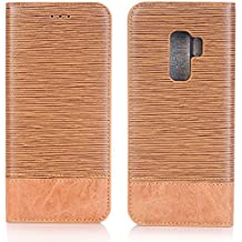 Samsung S9 Plus Case 2018, TechCode Folio Flip PU Leather Stand Case Book Style Purse Phone Cover with 3 Card Slots&Hidden Pocket for Women/Men for Samsung Galaxy S9 Plus [6.2 Inch] - Light Brown