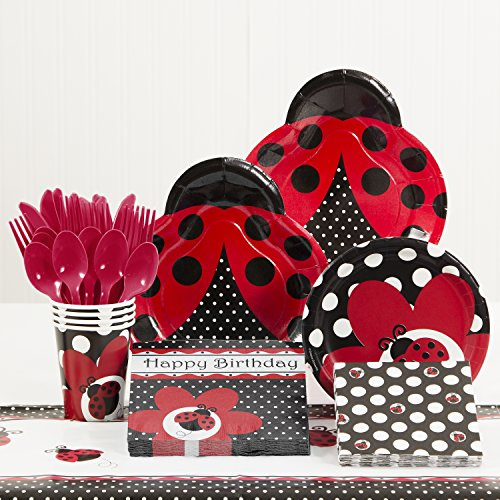 Creative Converting Ladybug Fancy Birthday Party Supplies Kit, Serves 8 -