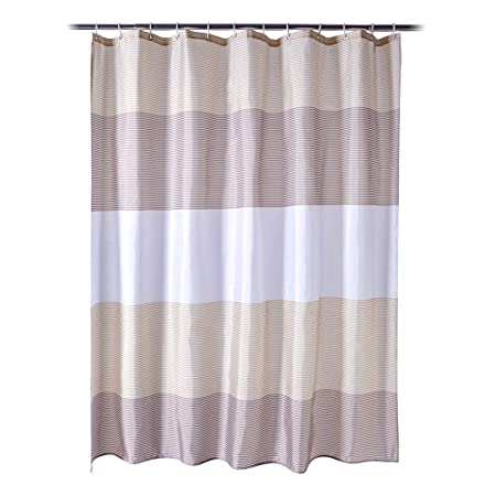 Anjee Shower Curtain With Hooks For Bathroom Waterproof Mould Mildew Resistant Sustainable Striped Bath 183 X Cm Amazoncouk Kitchen