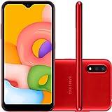 "Smartphone Samsung Galaxy A01 32GB 5,7"" Câmera Dupla 13MP 2MP Frontal 5MP Vermelho"