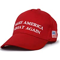 2610ebb69fb Besti Make America Great Again Donald Trump Slogan with USA Flag Cap  Adjustable Baseball Hat Red