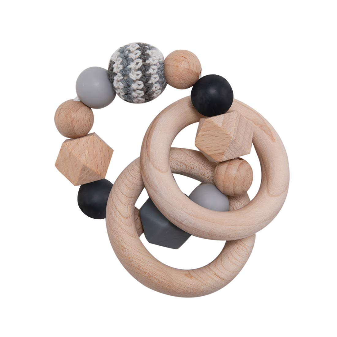 DIY Baby Teether Handmade Crochet Beads Round Wood Teething Beads Nursing Nacklace Bracelet Kit Choose Your Color Case Included