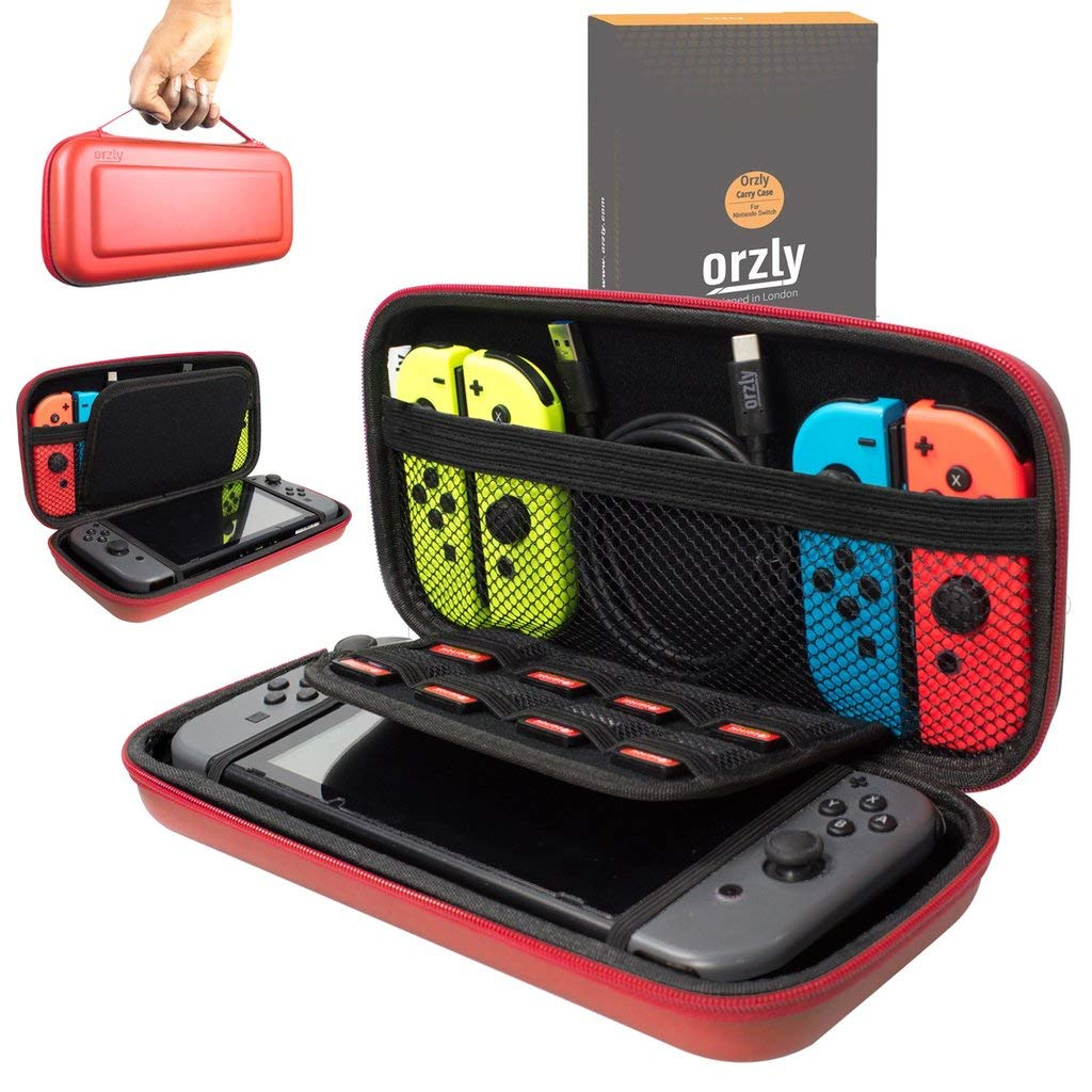 Orzly Carry Case Compatible With Nintendo Switch - RED Protective Hard Portable Travel Carry Case Shell Pouch for Nintendo Switch Console & Accessories product image