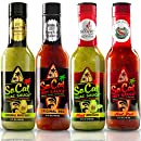 Guac & Hot Sauce Variety Pack | Gift Sets in a Custom Box |4 Bottle Sampler |2 Mild Ones |2 Hot Ones| Avocado Sauce | Guacamole Salsa Verde| Red Salsa Roja |Craft Taco Sauce | Real Avocados | By SoCal
