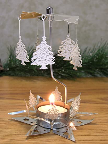 christmas candle candle spinner with laser cut xmas tree charms 1 smokeless tealight candle - Christmas Tree Spinner