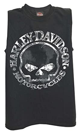d1a9f31ab50404 Amazon.com  Harley-Davidson Men s Willie G Skull Muscle Tank Top ...