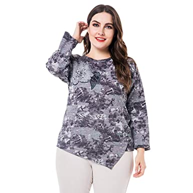 a7380610aa2 Image Unavailable. Image not available for. Color  EbuyChX Round Collar  Long Sleeve Floral Print Beaded Asymmetric Plus Size ...