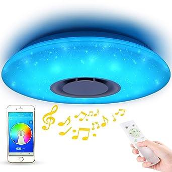 Rund 40cm 24W 3000-6500K Deckenlampe Farbwechsel mit Fernbedienung und APP-Steuerung f/ür Schlafzimmer K/üche Kinderzimmer Wohnzimmer Led Deckenleuchte Dimmbar mit Bluetooth Lautsprecher
