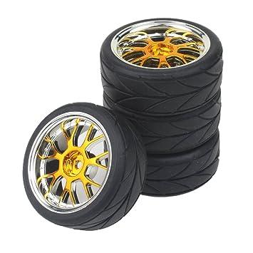 shaluoman chapado en forma de Y Hub Llanta Flecha con ruedas de caucho para RC 1