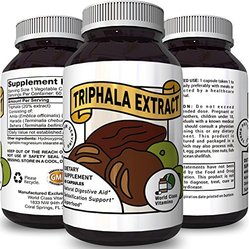 Triphala Extract Detox Constipation Relief for Men & Women Cleanses Digestive System & Colon Gentle Laxative with Vitamin A B C Dietary Supplement for Weight Loss & Energy Immunity Booster Capsules