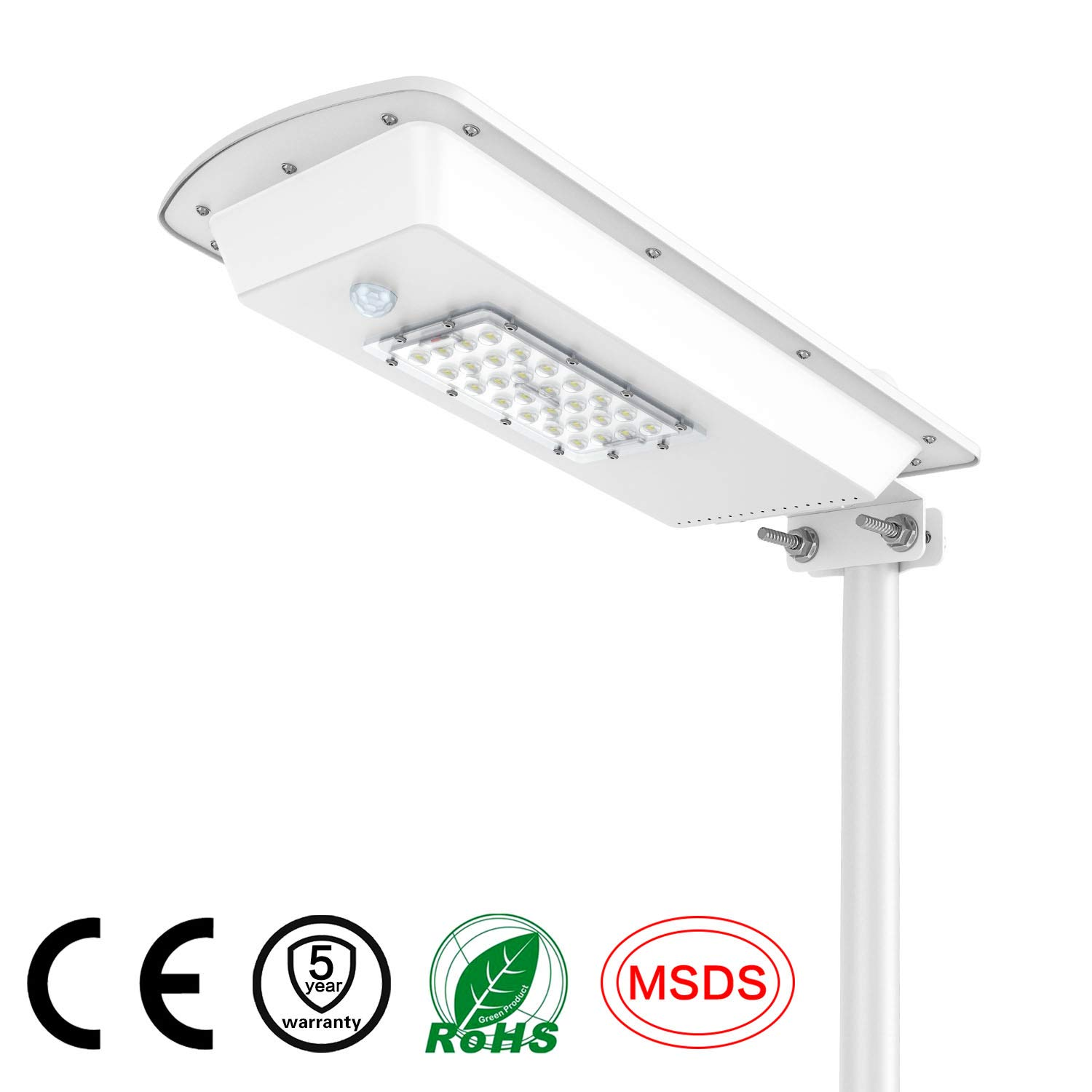 15W Solar Street Lights Outdoor Lamp, 28 LEDs 2000 Lumens, with Motion Sensor, Light Control, Dusk to Dawn Security Led Flood Light for Yard, Garden, Street, Basketball Court