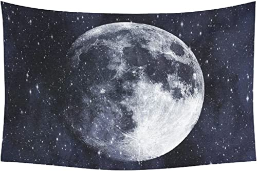 INTERESTPRINT Space Wall Art Home Decor, Super Moon in The Galaxy Tapestry Wall Hanging Art Sets 90 X 60 Inches