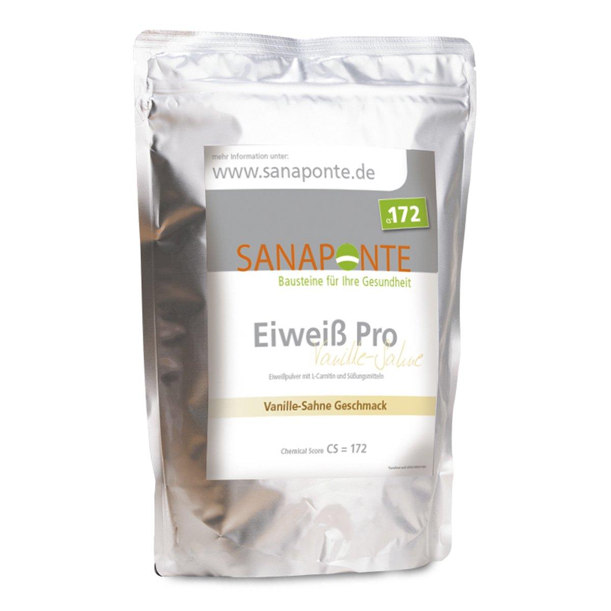 SANAPONTE Eiweiß Pro | 1000g hochdosiertes Eiweißpulver/Proteinpulver mit bcaa | Vanille- Sahne Geschmack | Bei Eiweiß-Mangel, Belastung, Stress & zum Abnehmen | Nahrungsergänzungsmittel für Kraft-Sport & Ausdauer-Sport / Eiweißshake / Eiweiß Pulver mit L- Carnitin / Whey Eiweiß / 3 K Eiweiß / Protein Pulver / Eiweiß Shake product image