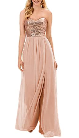 Verabeauty Sequin Chiffon Bridesmaid Dresses Long Prom Gown with Slit Rosegold Size 2
