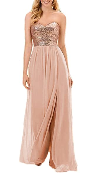 Vanial Sequin Chiffon Bridesmaid Dresses Long Prom Gown with Slit Rosegold Size 2