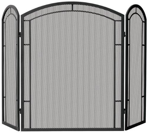 Uniflame 3-Fold Wrought Iron Screen, Black