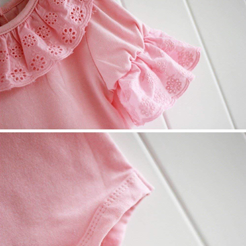 douleway Neugeborenes Baby M/ädchen Sommer R/üschen Spitzenkragen Halbe H/ülse Baumwolle Body Kurzarm Einfarbig R/üschen Spitze Bodysuit
