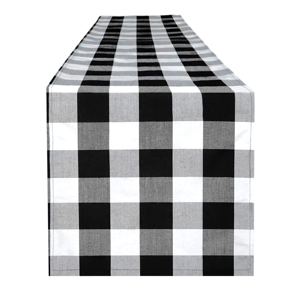 4TH Emotion Buffalo Check Plaid Table Runner for Fall Indoor and Outdoor Parties, Family Dinner Party Events Polyester Cotton Black and White (14x108 Inches, Seats 8-10 People)
