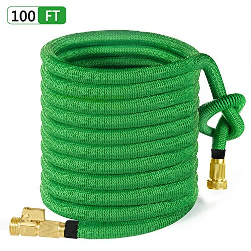MoonLa 100ft Garden Hose, All New Expandable Water Hose with 3/4″ Solid Brass Fittings, Extra Strength Fabric – Flexible Expanding Hose with Free Storage Bag